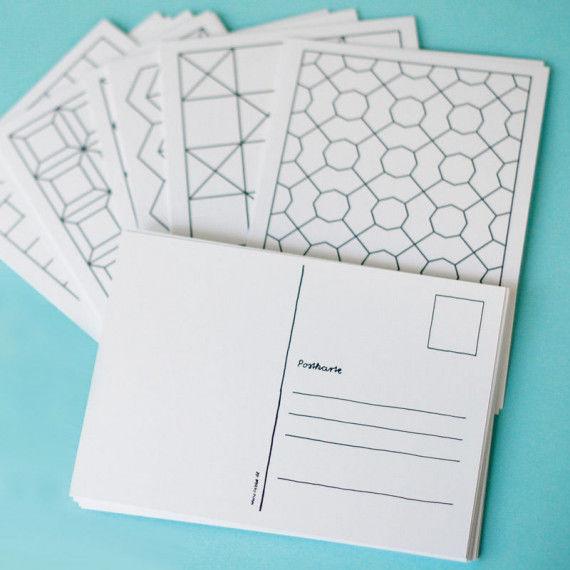 16 verschiedene geometrischen Muster als Postkarten zum Ausmalen