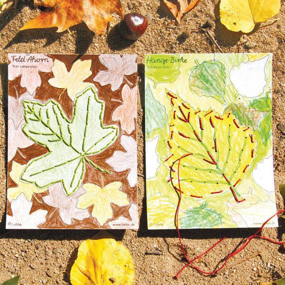 Stickkarten mit Herbstblätter zum Ausmalen und Sticken