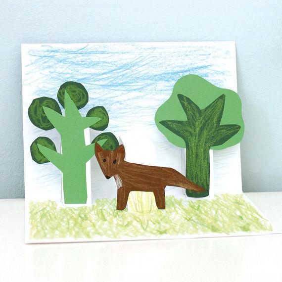 Pop-Up Karte mit Fuchs im Wald