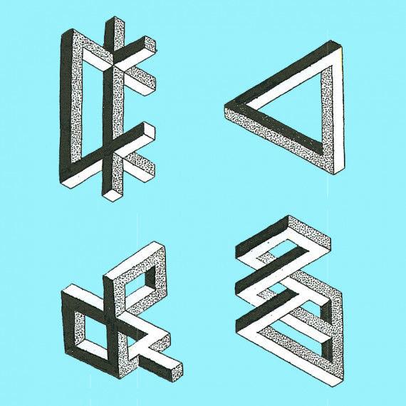Sonderangebot! Unmögliche geometrische Figuren zum Abmalen.