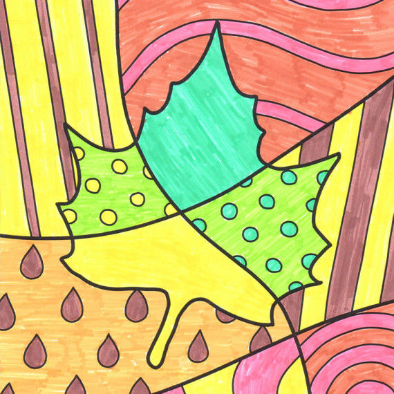 Pop-Art Malvorlagen mit Herbstmotiven - Ahornblatt und Birne