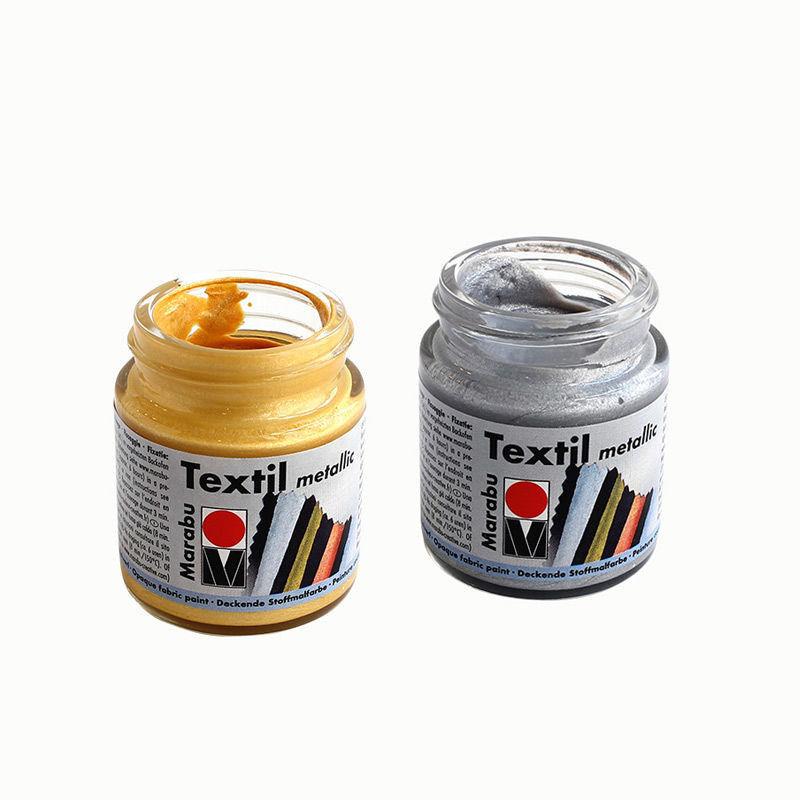Stoffmalfarbe im 50 ml Glas in den Farben Gold & Silber