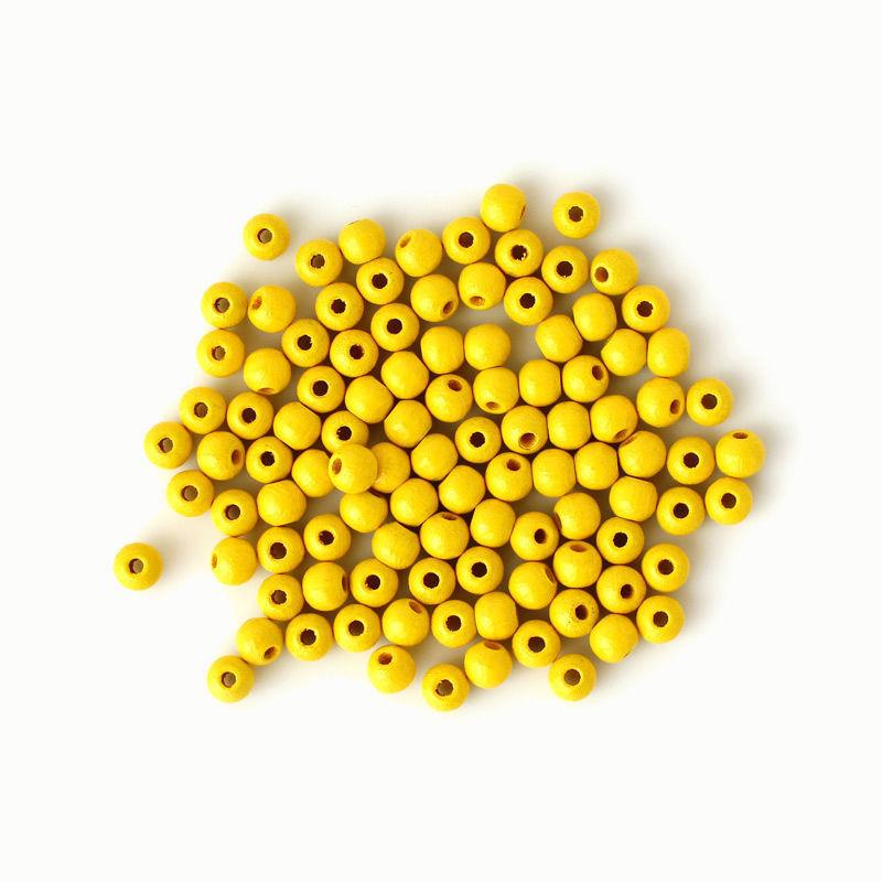 Holzperlen 6 mm, gelb