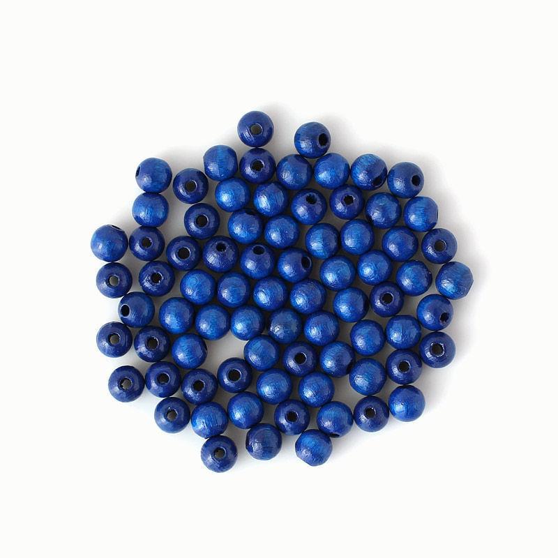 Holzperlen 8 mm, blau