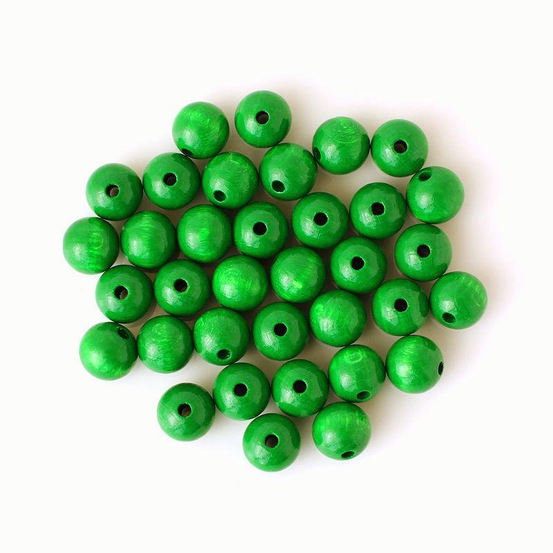 Holzperlen 12 mm, grün