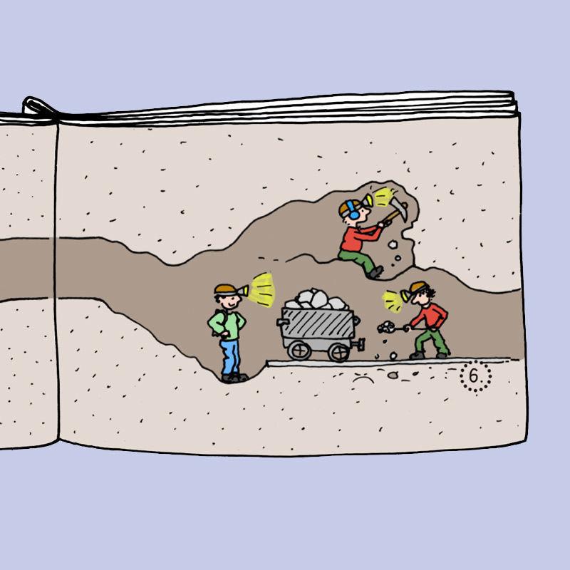 """Ausschnitt aus dem Mini-Buch """"Höhlenwanderung"""""""