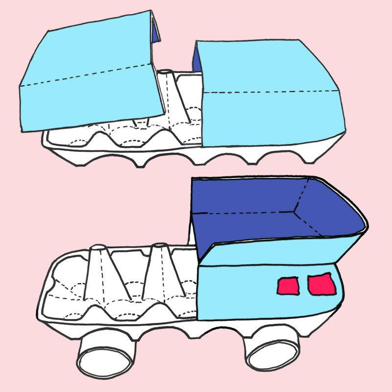 Basteln mit Eierkartons - Anleitung für einen Transporter