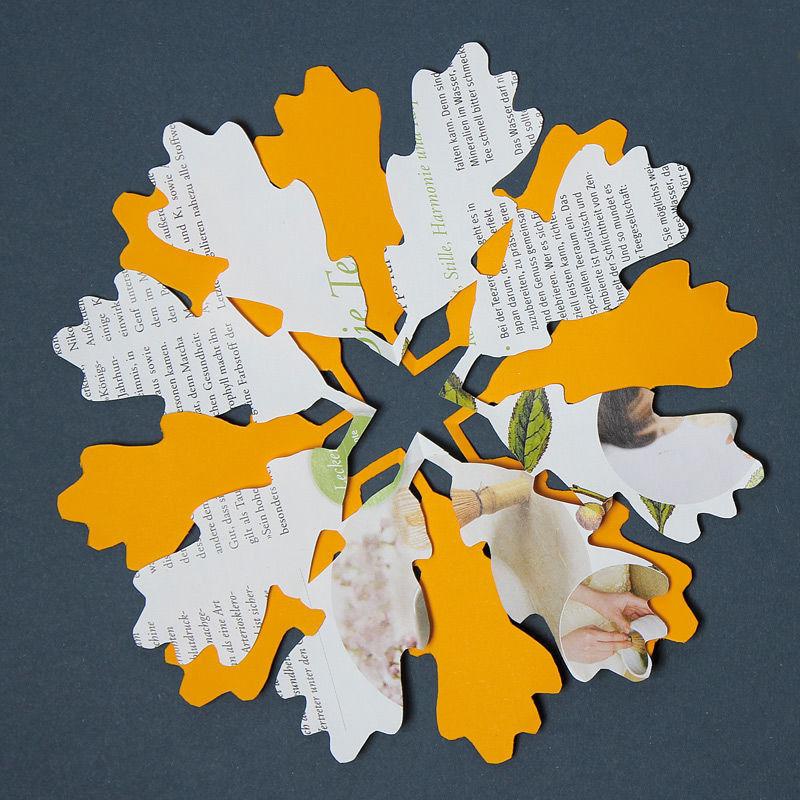Rundfaltschnitte mit Blättermotiven zum Falten und Ausschneiden