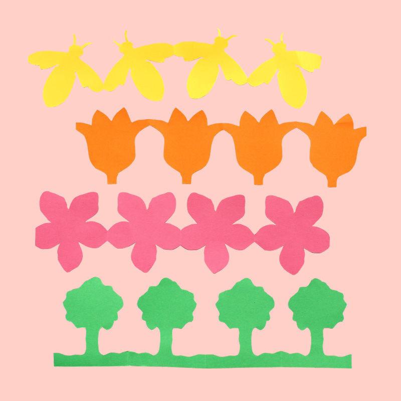 Papierketten mit 12 verschiedenen Frühlingsmotiven
