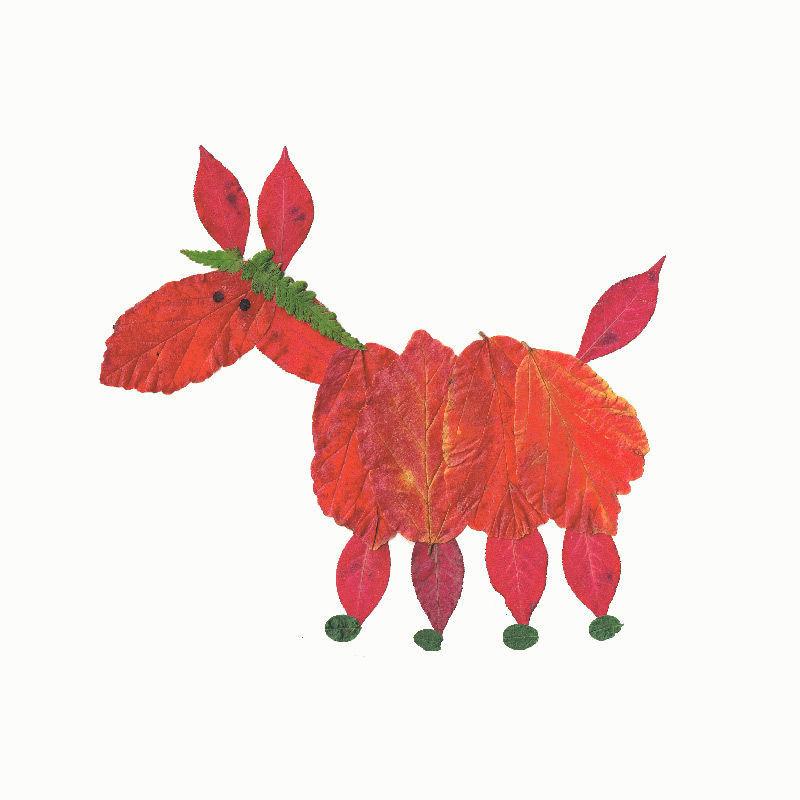 Pferd aus Herbstblättern - Ideen und Anleitungen zum Herunterladen