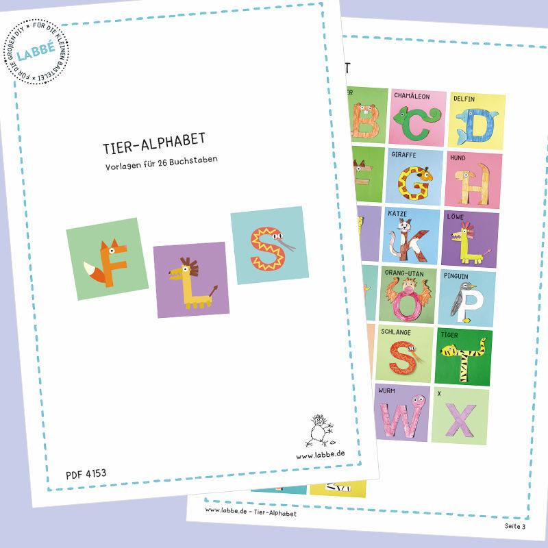 tier alphabet pdf basteln malen lernen spielen labb. Black Bedroom Furniture Sets. Home Design Ideas