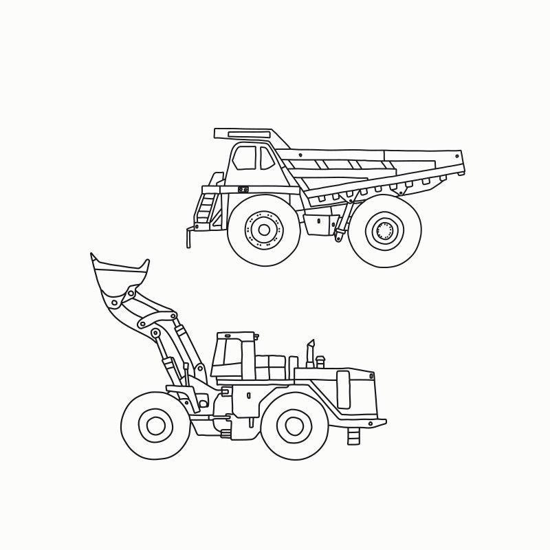 Druckvorlagen für Baufahrzeuge zum Durchpausen & Ausmalen