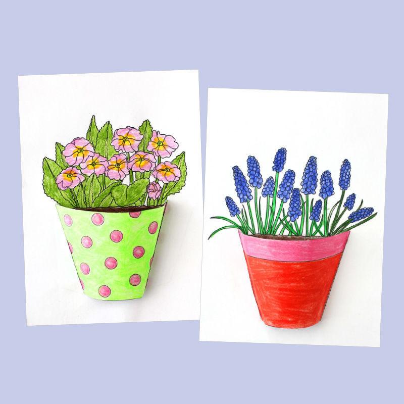 Kleine Blumentöpfe aus Papier basteln