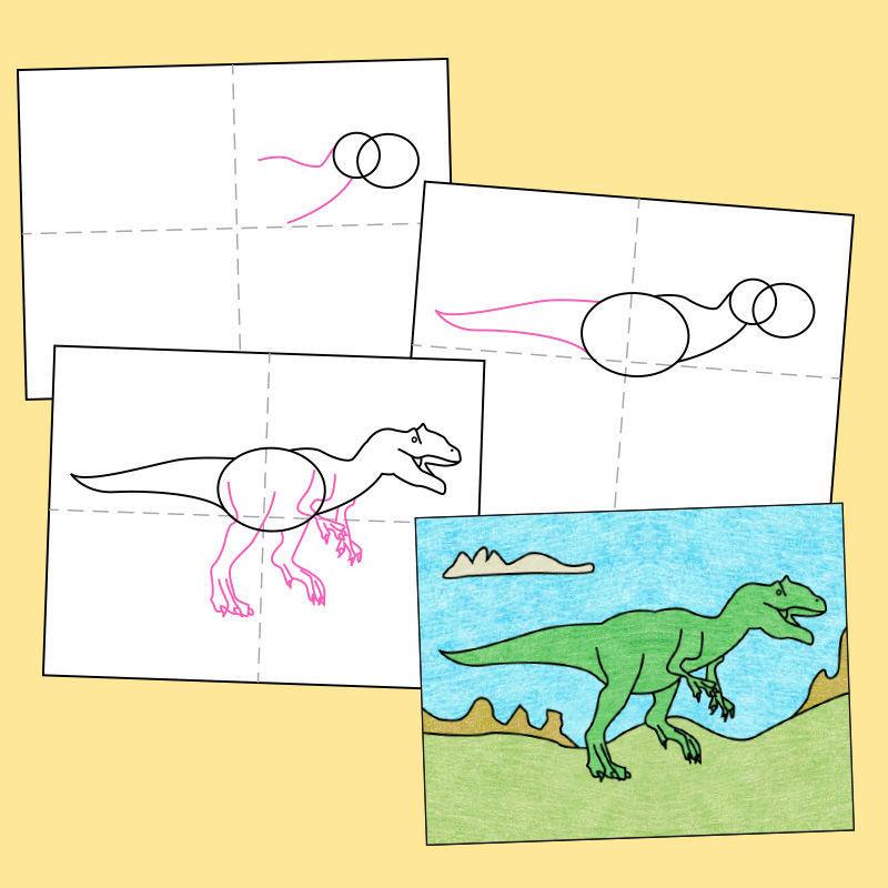 Geleitetes Zeichnen - Alosaurus zeichnen Schritt für Schritt