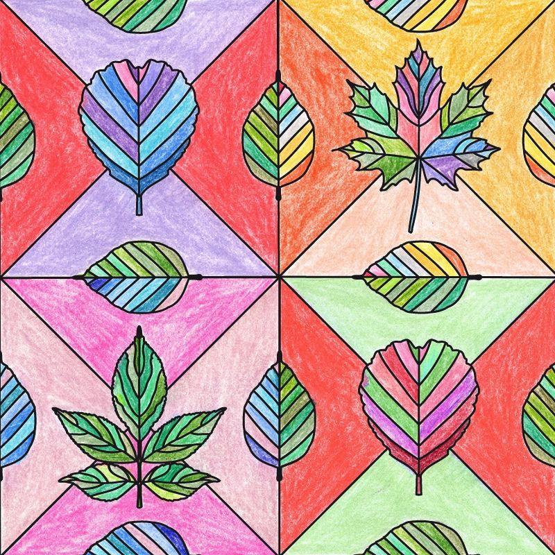 Laubblätter-Mosaik der 16 häufigsten Bäume zum Ausmalen und Kleben