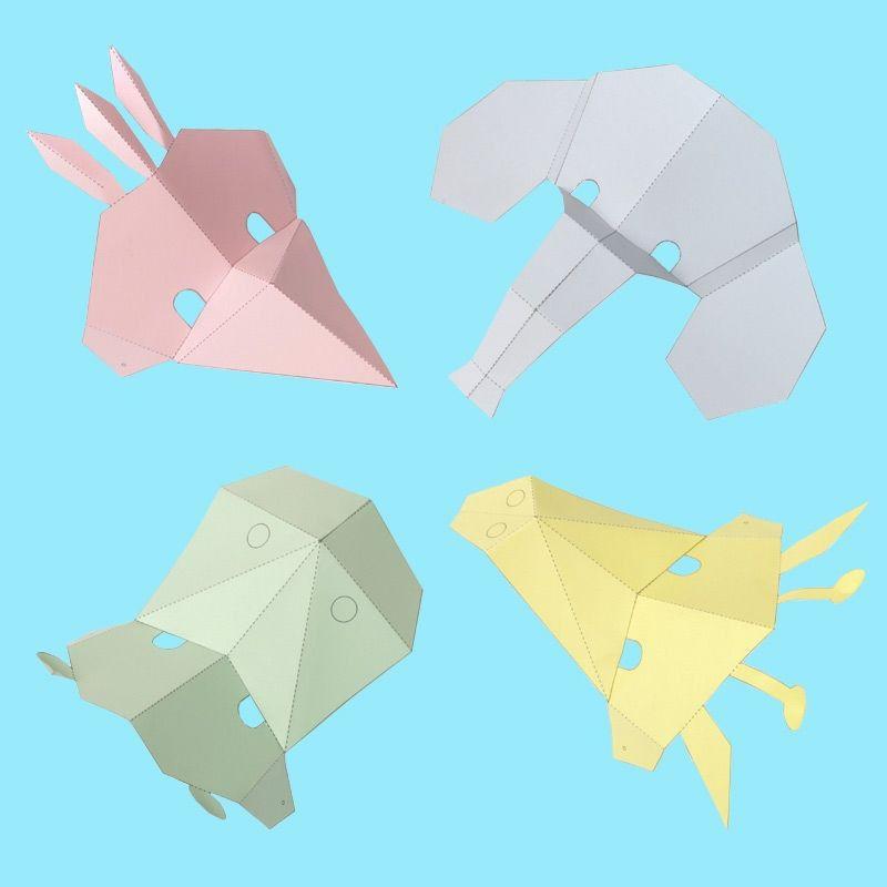 Tiermasken im Origami-Stil falten