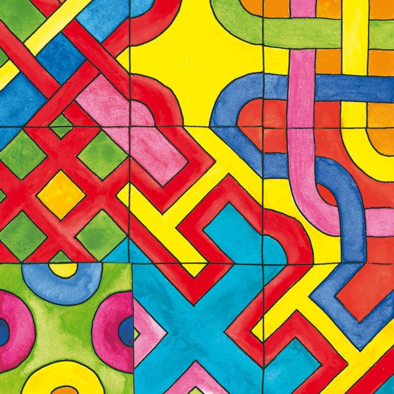Bunte Mosaik Karten aus Papier zum Ausmalen und Legen von Labyrinthen