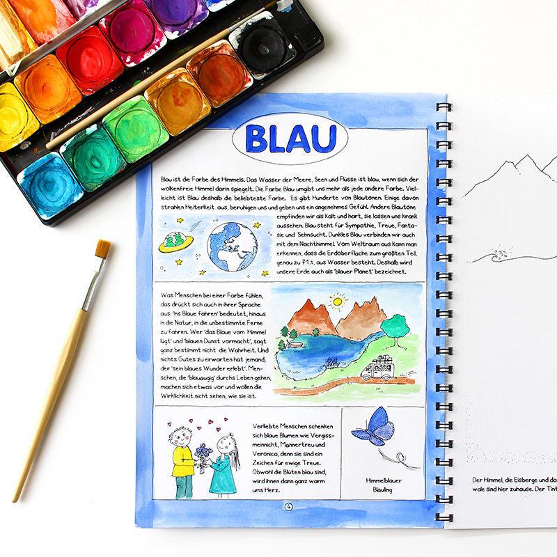 Wirkung, Bedeutung und vieles mehr über die Farbe Blau in Mein Farbenbuch für Kinder