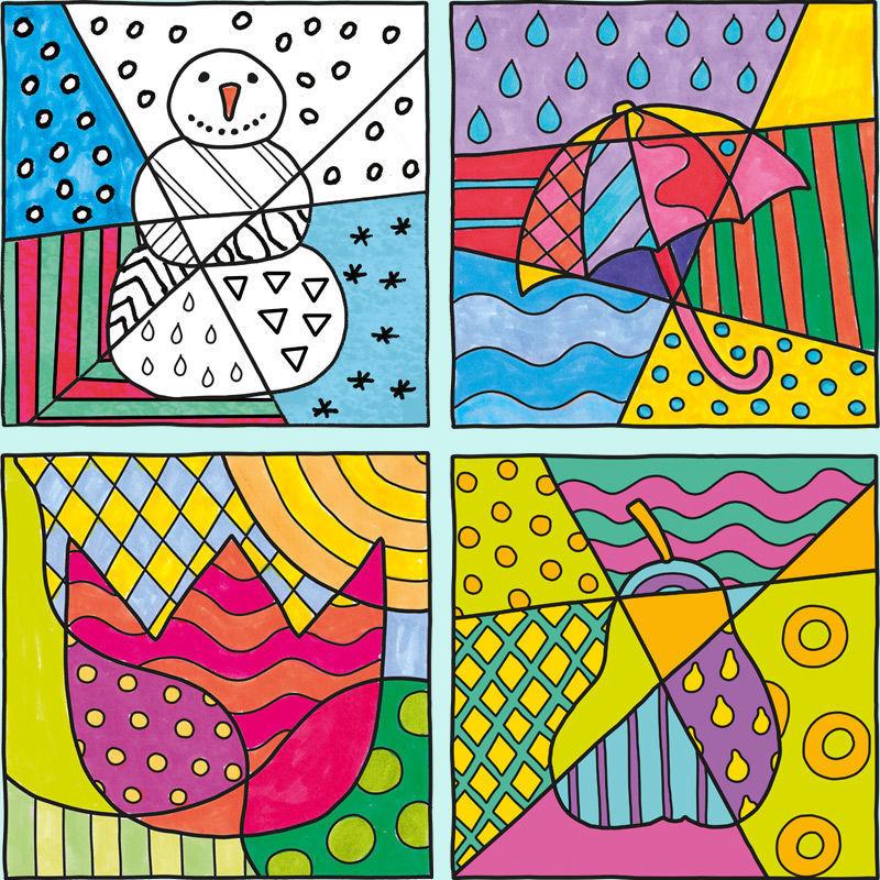 Monatsblätter mit Pop-Art Motiven zum Ausmalen
