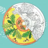 Blätter-Mandala Malvorlage - Stieleiche