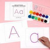 Groß- und Kleinbuchstaben des Alphabets zum Bedrucken mit Wattestäbchen für Kinder