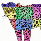 Ein Jaguar in Lebensgröße in bunt ausgemalt - eine super Gruppenarbeit