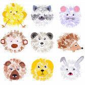 Witzige Gabeldruck-Tiere
