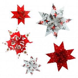 Fröbelsterne mit modernen Weihnachtsmotiven