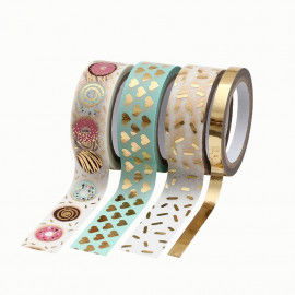 Washi Tape hotfoil, Herzen gold