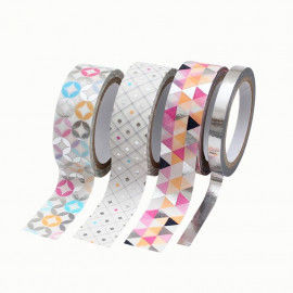 Washi Tape hotfoil, geometrische Muster silber