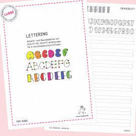 Beispielseiten aus dem PDF mit Übungsblättern für 5 verschiedene Schrifttypen