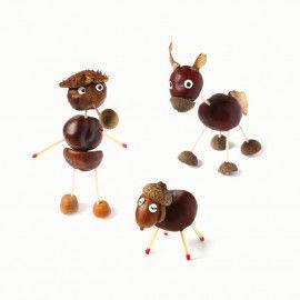 Witzige Figuren aus Kastanien und Streichhölzern