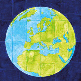 Wandbild Weltkugel zum Ausmalen und Zusammenkleben