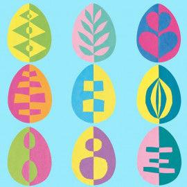 Vorlagen für bunte Eier zum Schneiden, Klappen und Zusammenkleben
