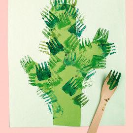 Gedruckter Kaktus mit der Gabeldruck-Technik gedruckt