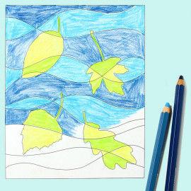 Poppige ausgemalte Bilder mit fallenden Herbstblättern