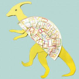 Dinosaurier basteln aus Papptellern - Parasaurolophus