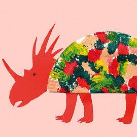 Styracosaurus basteln mit einem Pappteller