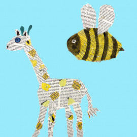 Tier-Collagen aus Zeitungspapier - Giraffe und Biene