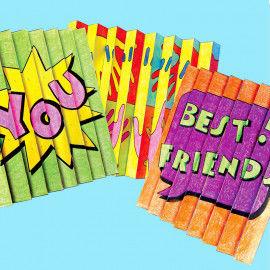 Zickzack-Bilder mit Motiven zum Thema Freundschaft