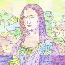 Wandbild Mona Lisa aus 25 DIN A4 Kacheln