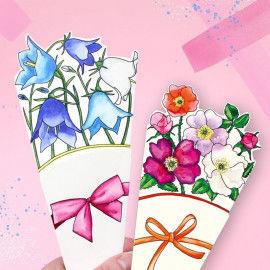 Vorlagen für Faltblumensträuße zum Ausmalen und Falten