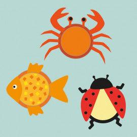 Trommellaternen-Tiere: Krabbe, Fische & Marienkäfer