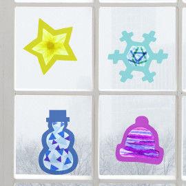 Winterliche Fensterbilder zum Basteln für Kinder