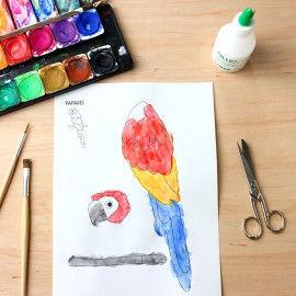 Papagei-Vorlage zum Ausmalen und Kleben einer Mal-Collage