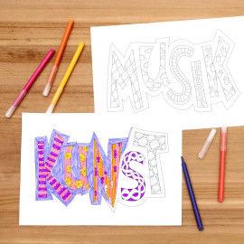 Bunte Klassenzimmer-Doodles zum Ausmalen - Kunst & Musik