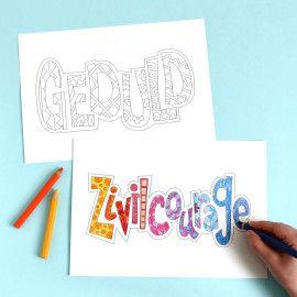 Sozialkompetenz Doodles zum Ausmalen - Geduld & Zivilcourage