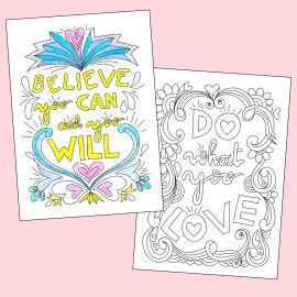Motivationsposter zum Ausmalen - Believe that you can