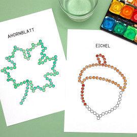 Punktmalerei Herbst - Ahornblatt und Eichel mit Wattestäbchen bedrucken