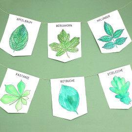 Wimpelketten mit Blättermotiven